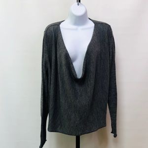Eileen Fisher Gray Alpaca Drape Front Sweater